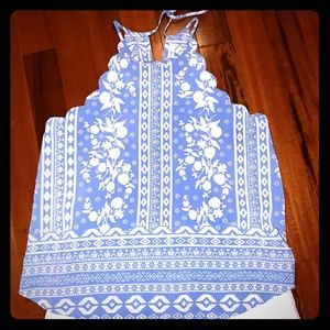 French blue and cream halter top